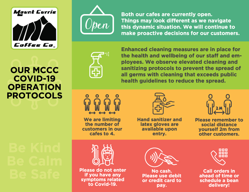 Mount Currie Coffee Co. Covid Protocols for Operations